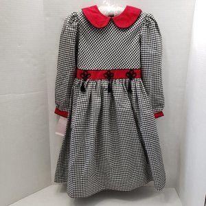 Sylvia Whyte Girls Black White Red Check Dress 6X